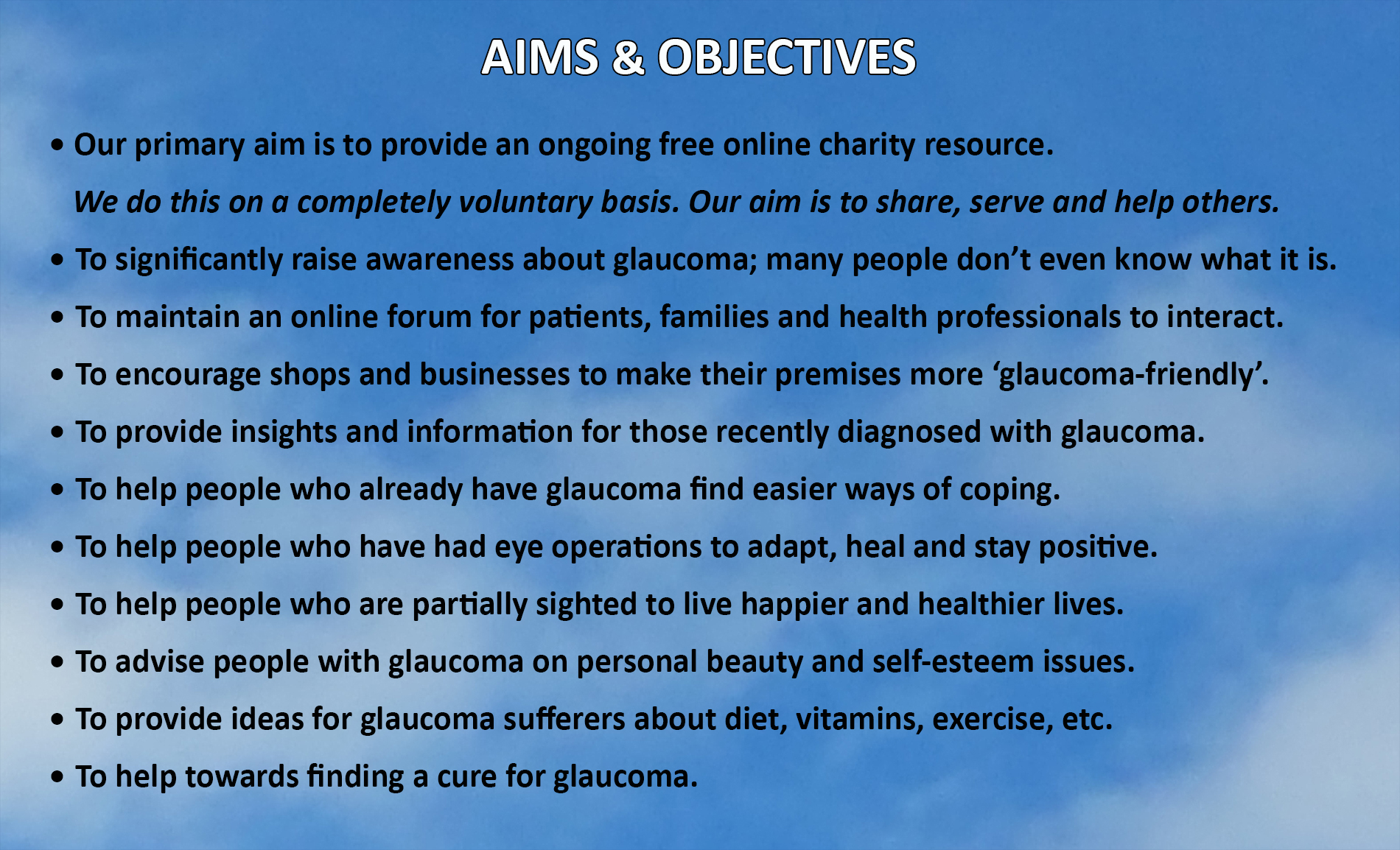Glaucomarize Aims and Objectives